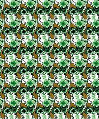 黄色底绿色花卉反复纹样背景图案素材JIG