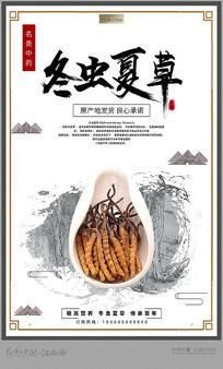 中药文化冬虫夏草促销海报