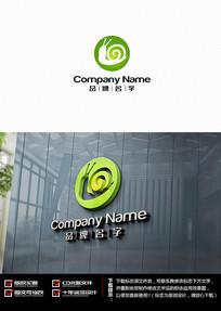 绿色圆形蜗牛LOGO设计