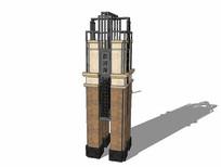 现代中式景观塔