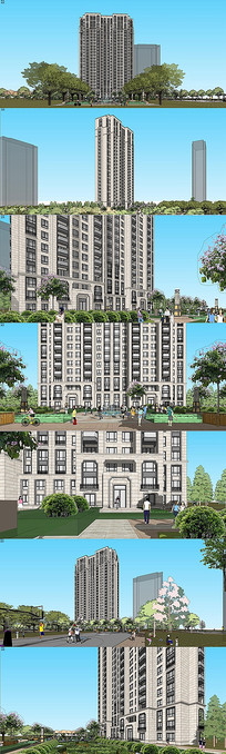 新古典风格高层住宅SU模型