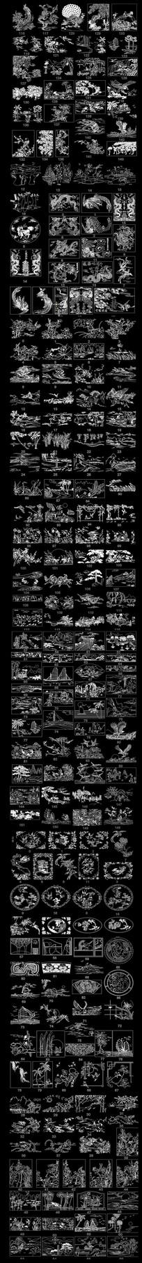 中国风花鸟雕花雕刻装饰图案