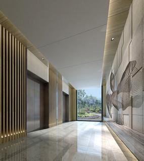 典雅中式酒店电梯厅效果