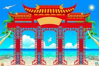 中式红色边框门楼