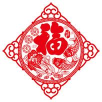 中国传统剪纸新年福字剪纸