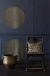 中式椅子传统纹样浮雕