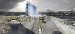 办公玻璃建筑透视图