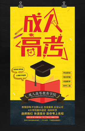 成人高考辅导班培训招生海报