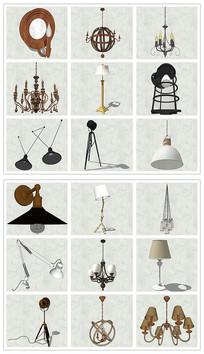 工业风格灯具台灯吊灯SU模型