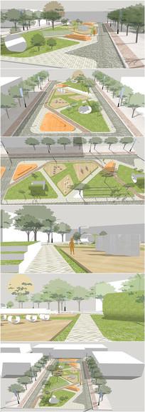 精品景观城市绿地广场SU模型