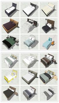 欧式风格双人床欧式床SU模型