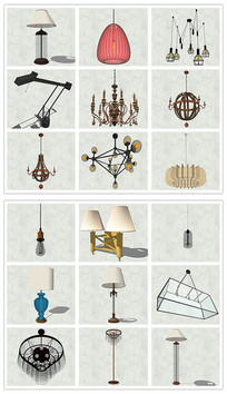 现代风格室内台灯吊灯SU模型