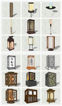 新中式灯具台灯SU模型
