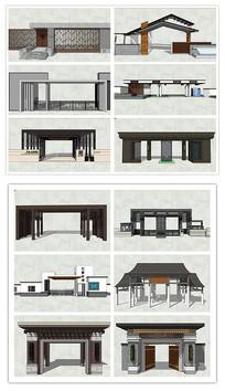 新中式古典风格大门SU模型