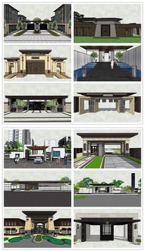 新中式新亚洲大门SU模型