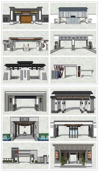 中式古典风格入口大门SU模型