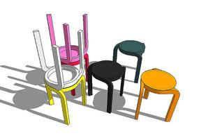 彩色坐凳模型