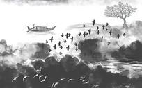 新中式黑白写意山水画背景墙