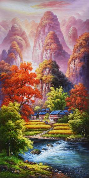 纯手绘高山流水田园风景油画图