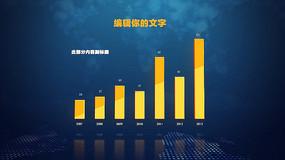 蓝色科技背景主体黄数据柱状图视频