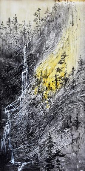 手绘抽象意境山水油画玄关