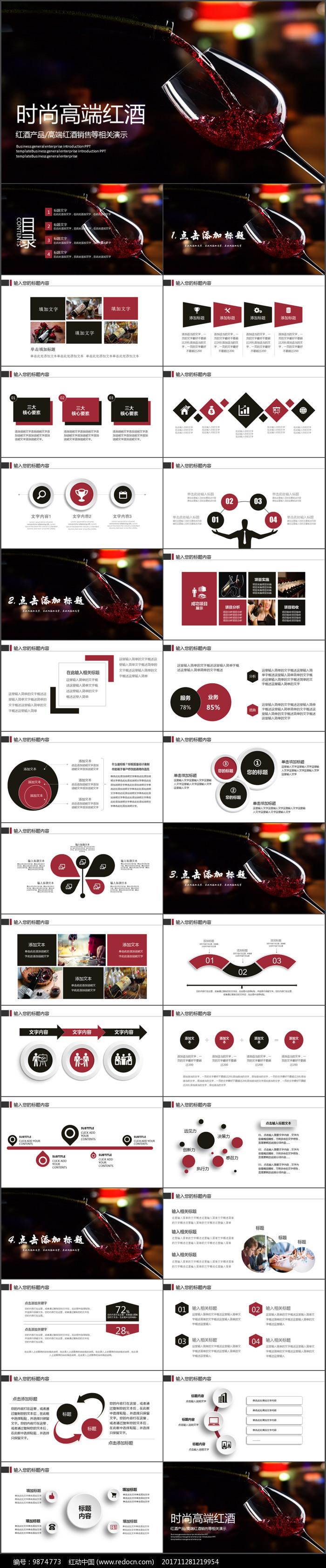 红葡萄酒文化PPT模板图片图片