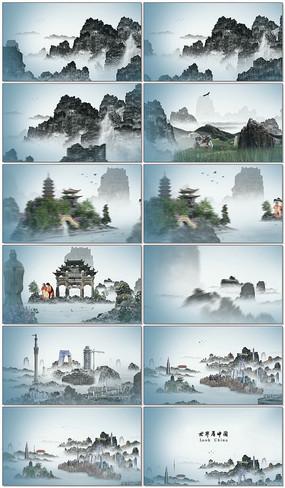 山水画风格视频pr源文件