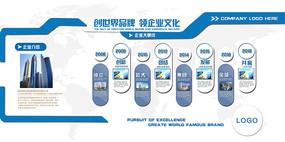 蓝色简约企业成长文化墙