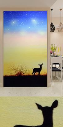 夜景草原动物玄关装饰画