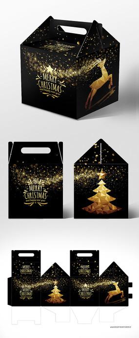 黑金高档新年圣诞节包装礼盒