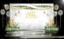 白绿主题婚礼背景板