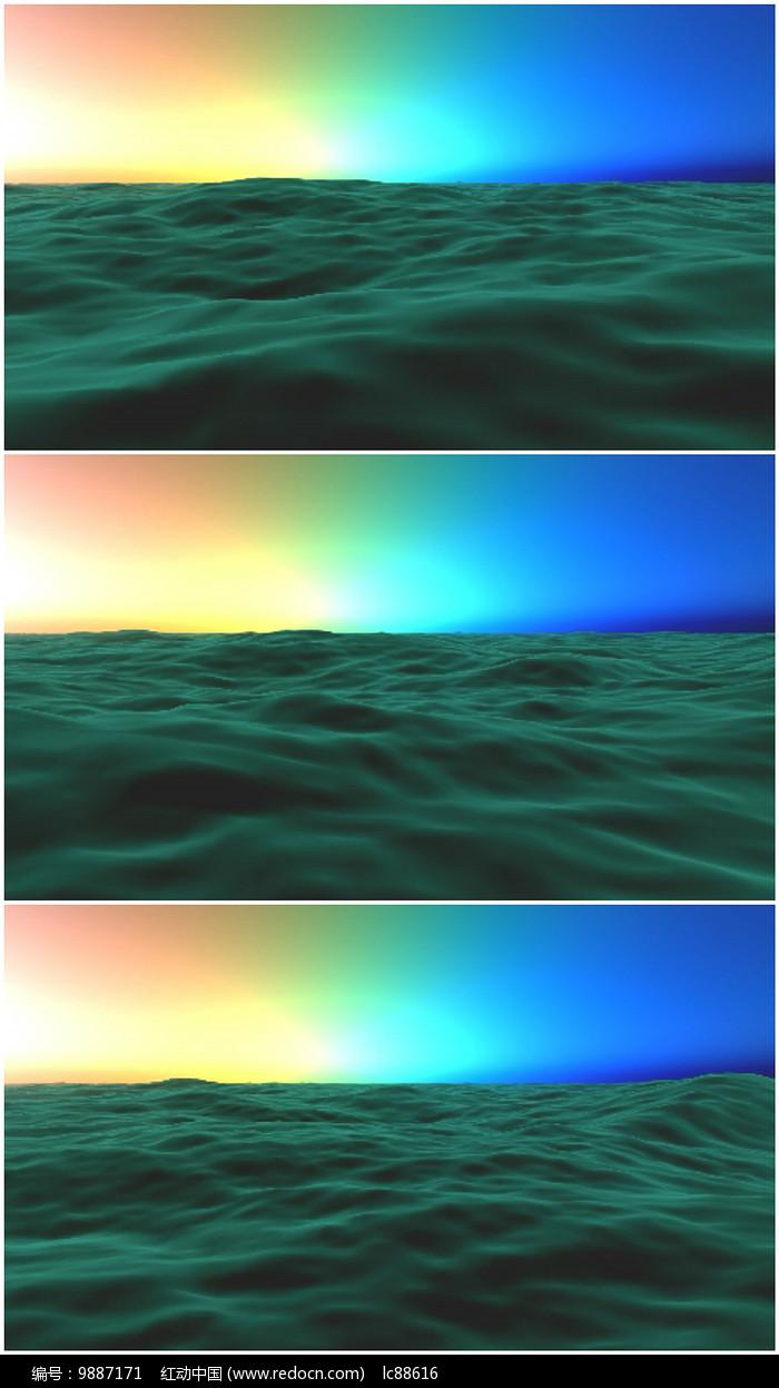 北极光海面流动背景视频