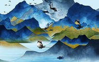 蓝色中式喜鸟山水背景墙