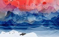 蓝色意境山水背景墙
