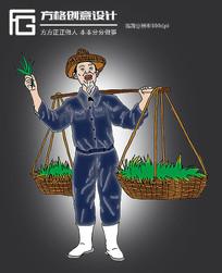 卡通手绘挑担白胡子老农插画