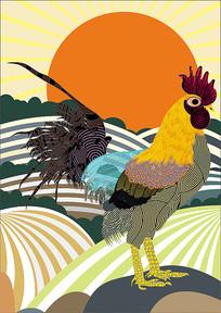 矢量公雞手繪裝飾畫