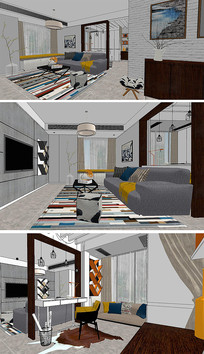 现代小户型家装设计SU模型