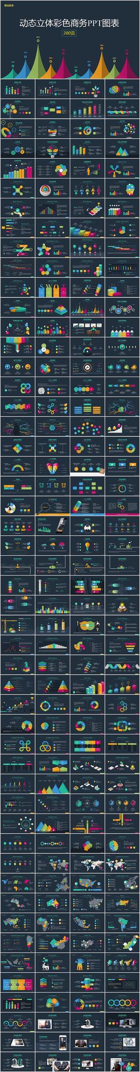 动态立体彩色商务PPT图表