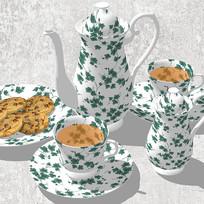 白绿瓷器茶具