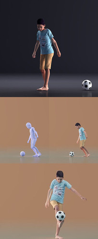 MAX模型踢足球的小男孩