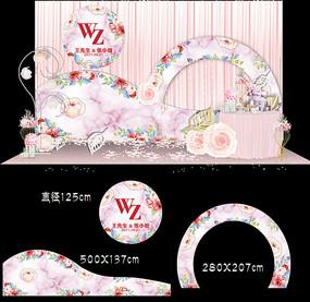 水彩花卉婚礼甜品台