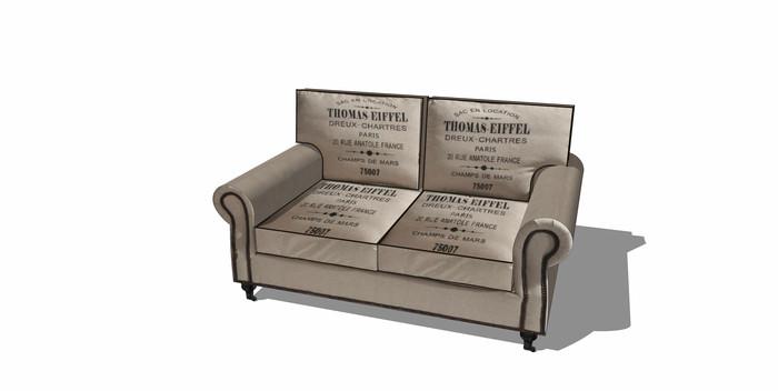 做旧报纸材质沙发SU
