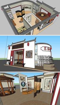 茶文化展厅草图大师SU模型