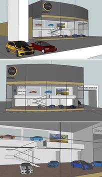 独立汽车展厅SU模型