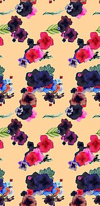 艳丽花朵暖色底油画长版背景