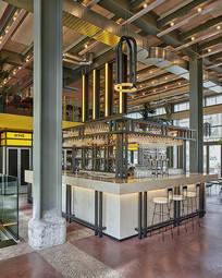 马卡龙色现代餐厅方形吧台
