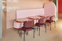 马卡龙色现代餐厅粉色座位