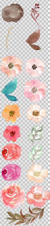 唯美森系手绘鲜艳的花朵免扣素材