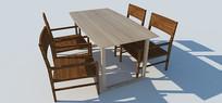 桌椅组合SU草图大师模型