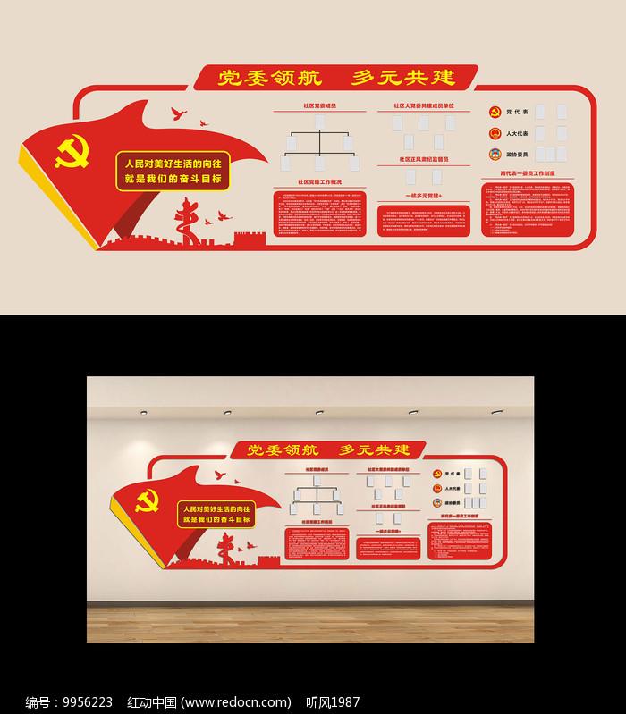 机关党支部社区党建制度文化墙图片